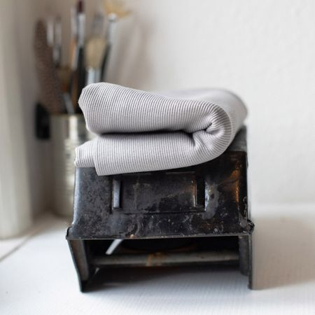 Tissu jersey bord côte côtelé 2x1 BIO - Argent