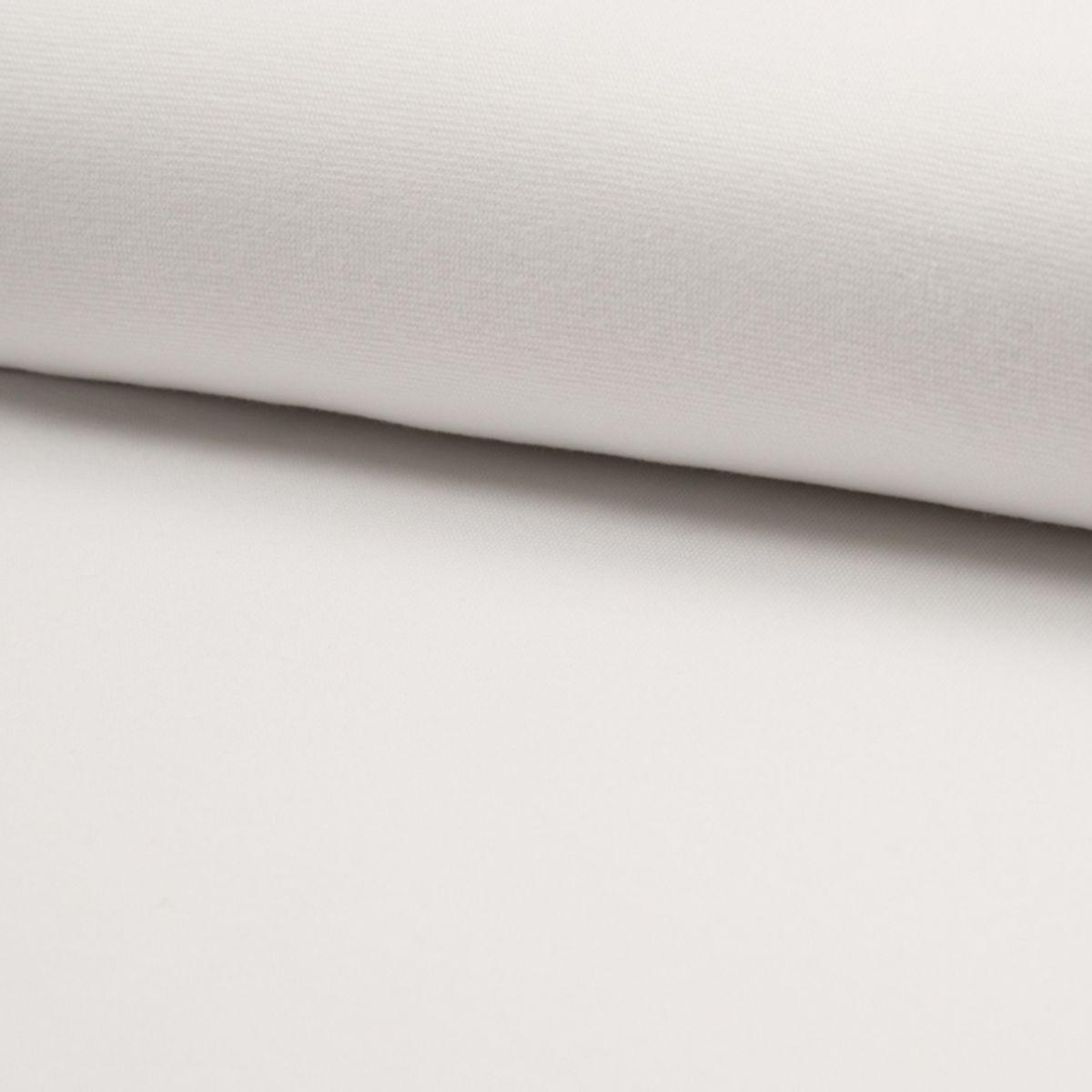Tissu jersey bord côte BIO - Blanc