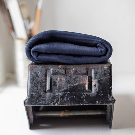 Tissu jersey bord côte côtelé 2x1 BIO - Bleu marine