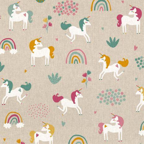 Tissu aspect lin - Licornes