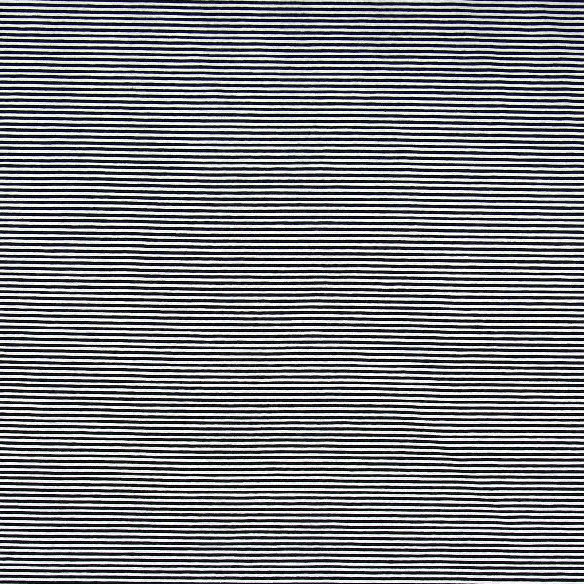 Tissu jersey marinière - Rayures fines noires