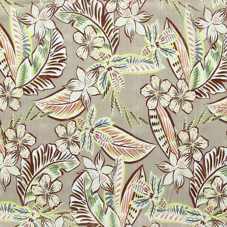 Tissu viscose - Fleurs et rayures lurex - Beige