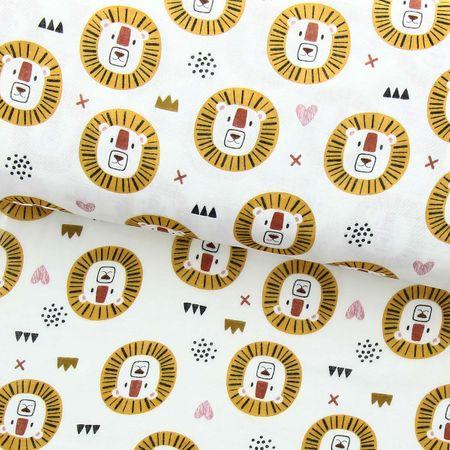 Tissu double gaze - Lion crinière jaune