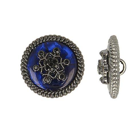 Bouton métal flocon de neige strass - Bleu marine