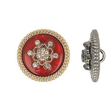 Bouton métal flocon de neige strass - Rouge