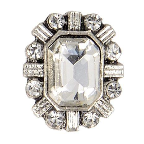 Bouton métal bijoux strass - Blanc
