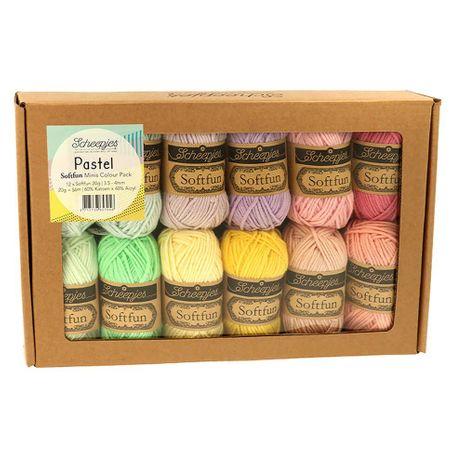 Coffret de 12 mini pelotes Scheejes Soft Fun - Pastel