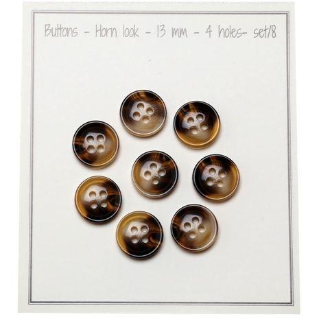 Paquet de 8 boutons 4 trous - Aspect corne