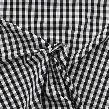 Tissu popeline de coton - Vichy grands carreaux - Noir