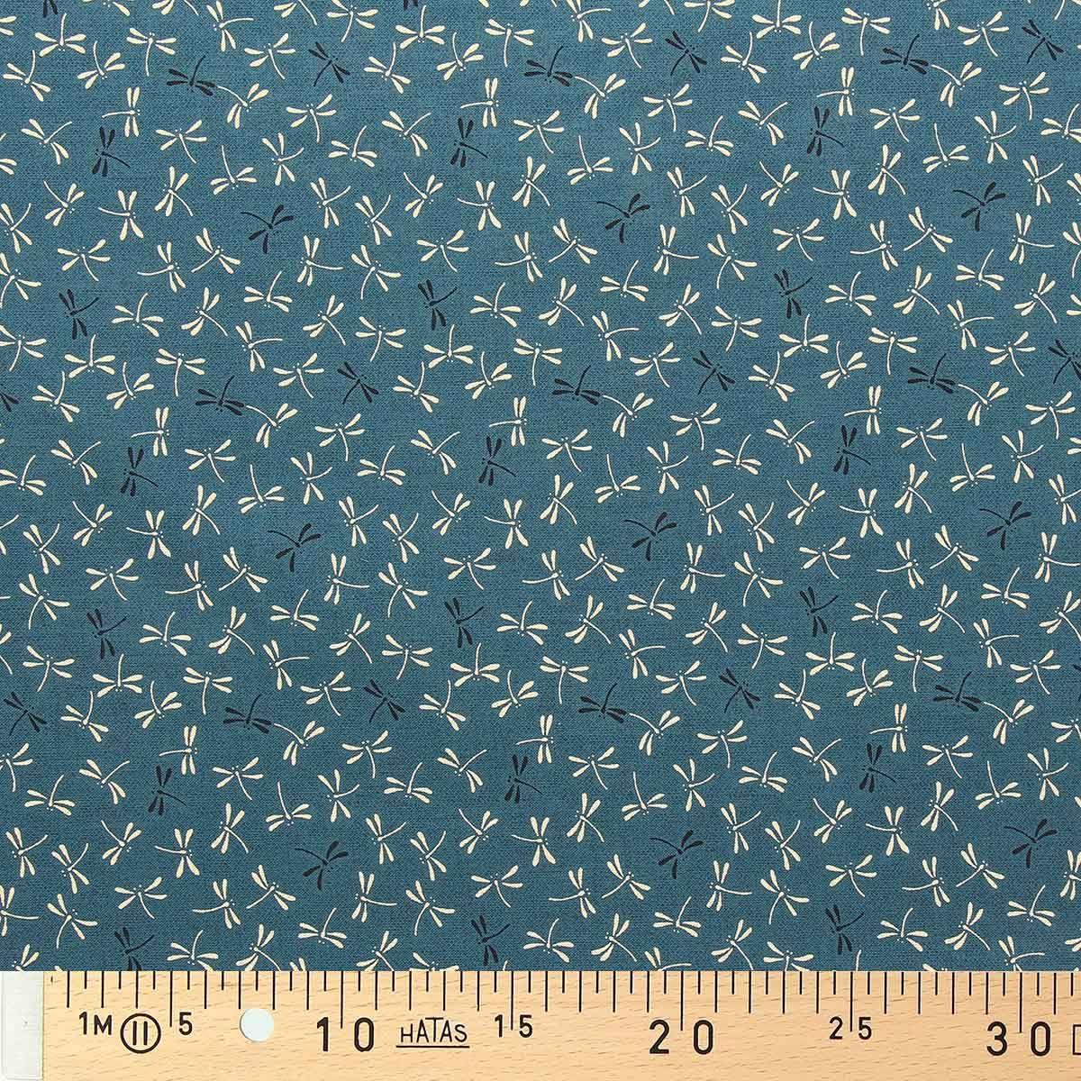 Tissu coton sashiko Sevenberry - Libellules fond bleu pétrole