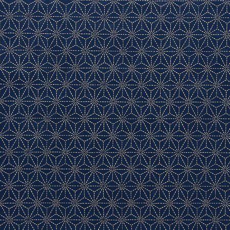 Tissu coton sashiko Sevenberry - Etoiles fond bleu marine foncé