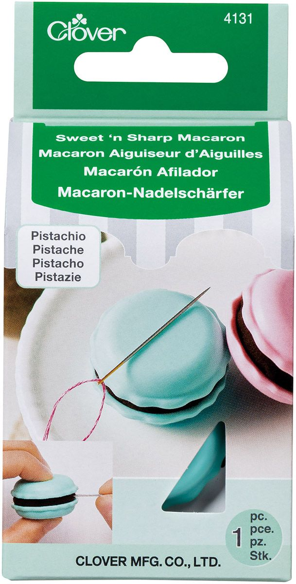 Macaron aiguiseur d´aiguilles et porte aiguille - Pistache