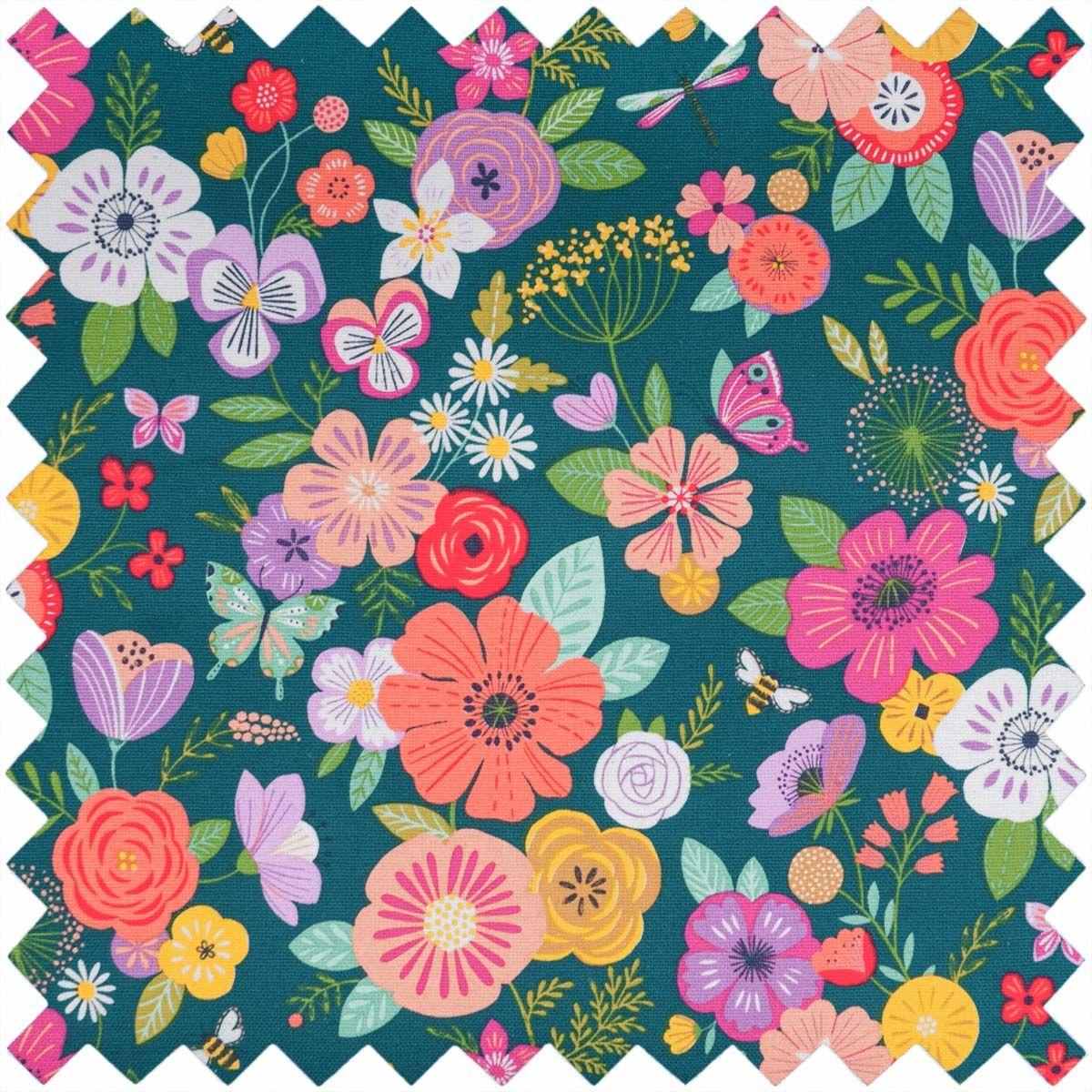 Boite à couture - Jardin fleuri bleu L
