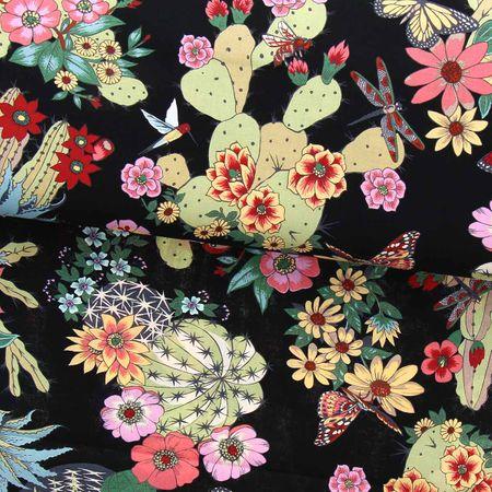 Tissu coton Alexander Henry - Hacienda cactus - Noir