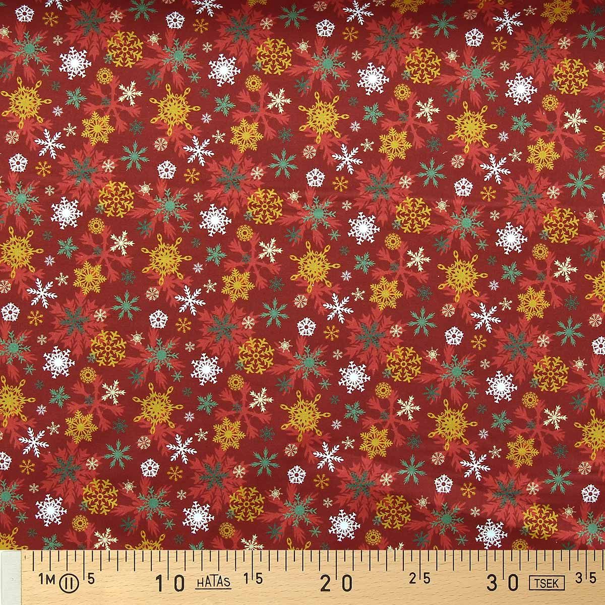 Tissu popeline de coton BIO - Flocons de neige fond rouge