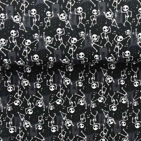 Tissu popeline de coton BIO - Danse des squelettes