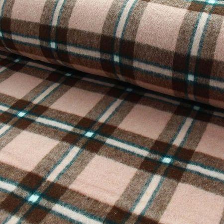 Tissu flanelle épaisse écossais - Tabac et rose