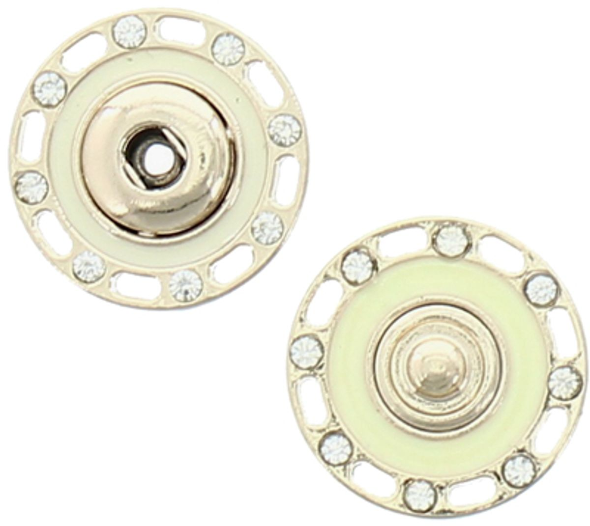 Bouton pression strass - Or et ivoire