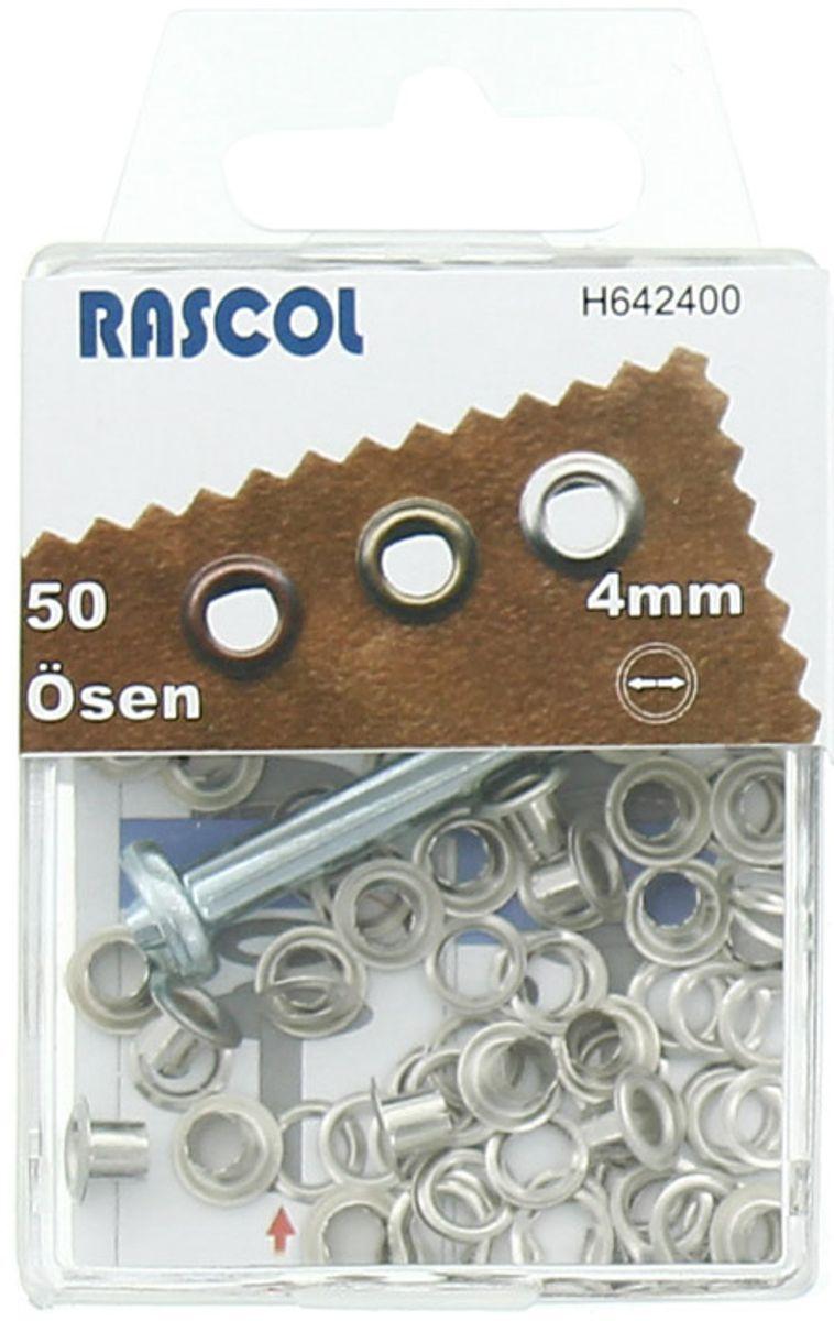 Boite 50 oeillets 4 mm avec outil de pose Rascol - Argent