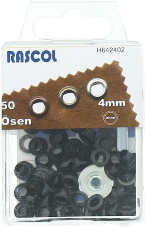 Boite 50 oeillets 4 mm avec outil de pose Rascol - Noir