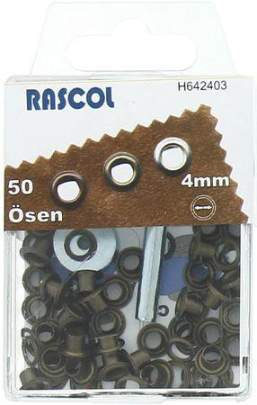 Boite 50 oeillets 4 mm avec outil de pose Rascol - Laiton antique