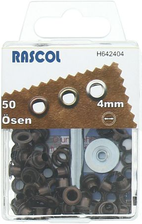 Boite 50 oeillets 4 mm avec outil de pose Rascol - Cuivre