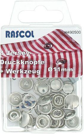 Boite de 8 boutons-pression jersey Rascol - 11 mm argent