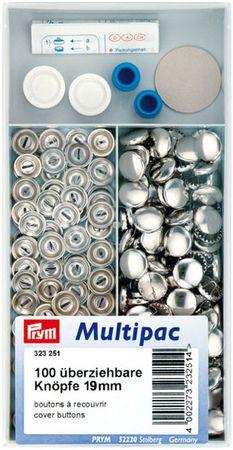 Multipac de 100 boutons à recouvrir - 19mm