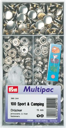 """Multipac de 100 boutons pression """"Sport Camping"""" - Nickel"""