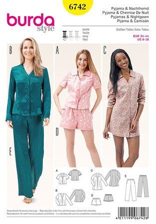 Patron de pyjamas et chemise de nuit - Burda 6742