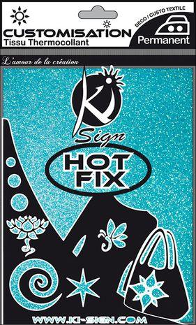 Feuille tissu thermocollante flex 15 x 20 cm - Paillette bleu holographique
