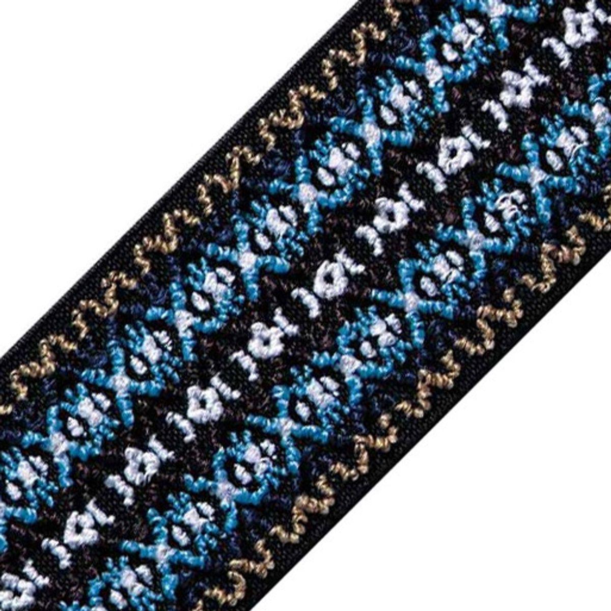Elastique broderie Color dessin bleu 50 mm au mètre