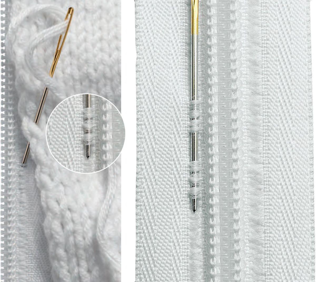 Fermeture éclair tricot non séparable - Blanc