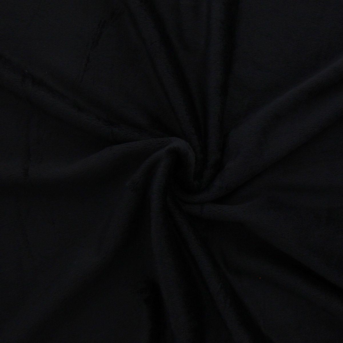 Tissu minky lisse - Noir