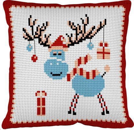 Kit coussin gros trous à broder - Le cerf de Noël