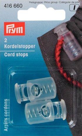 Arrêts cordons plastique avec 1 trou - Transparent