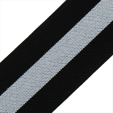 Elastique broderie Color rayé noir et blanc 50 mm au mètre