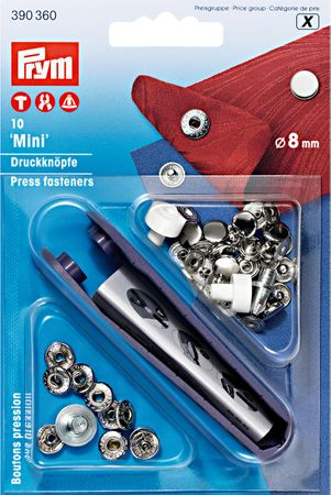 Boutons pression anorak Argent avec outil 8 mm