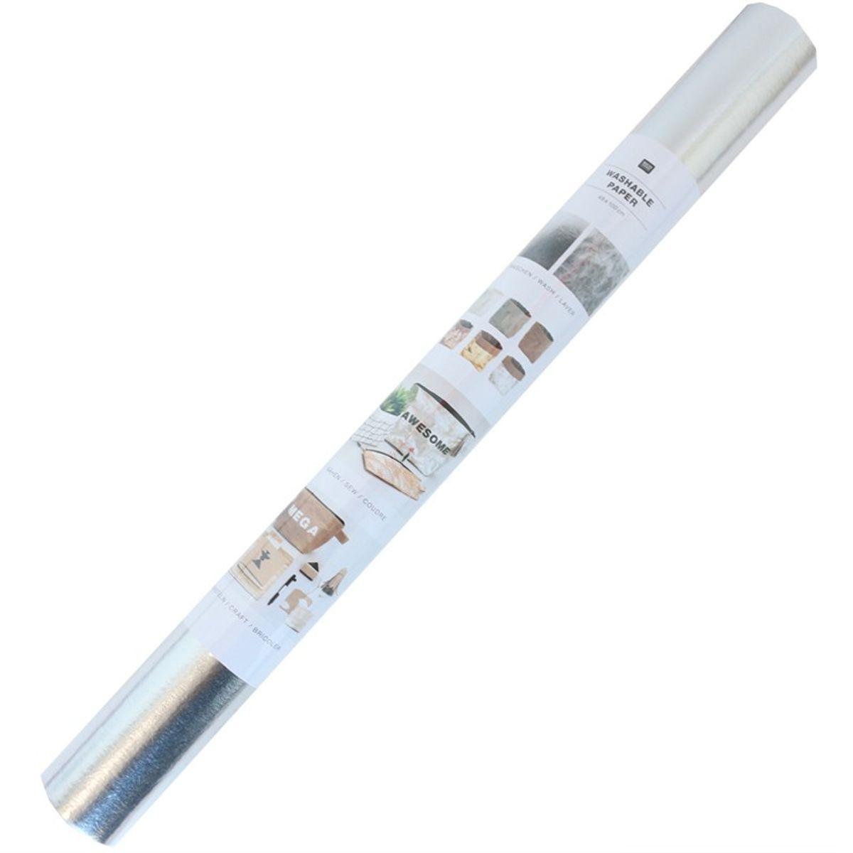 Rouleau papier vegan argent - 50 x 100 cm