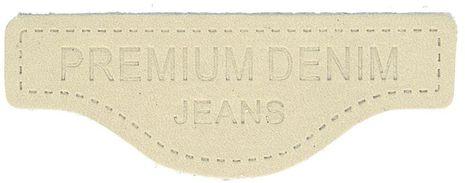 Étiquette à coudre cuir premium denim - Beige
