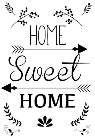 Transfert thermocollant A4 home sweet home - Noir