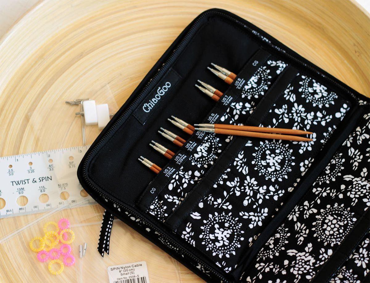 Pochette d´aiguilles à tricoter circulaires en bambou ChiaoGoo