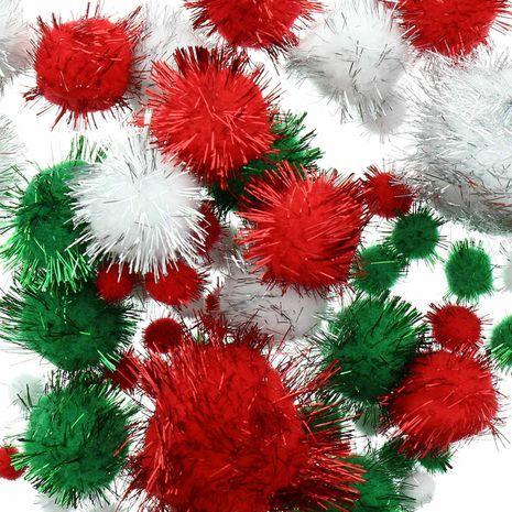Set de 60 pompons brillants - Noël