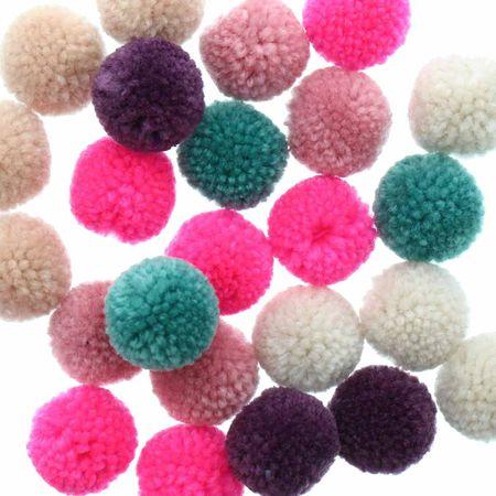 Set de 24 pompons en laine - Jolly christmas pastel