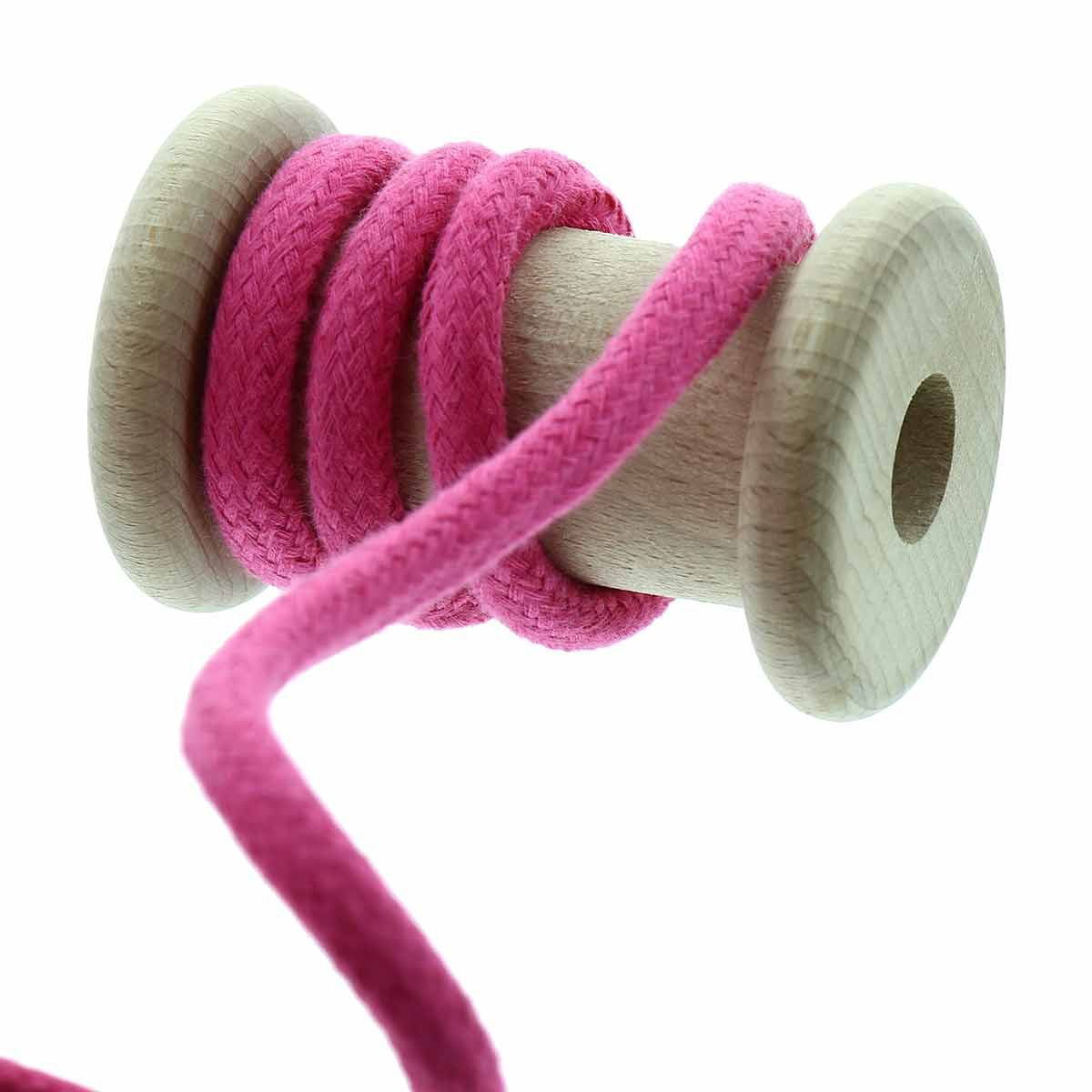 Cordon coton tressé 8 mm - Fuschia