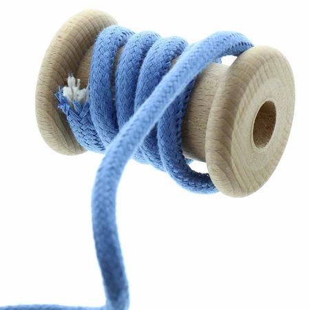 Cordon coton tressé 8 mm - Bleu