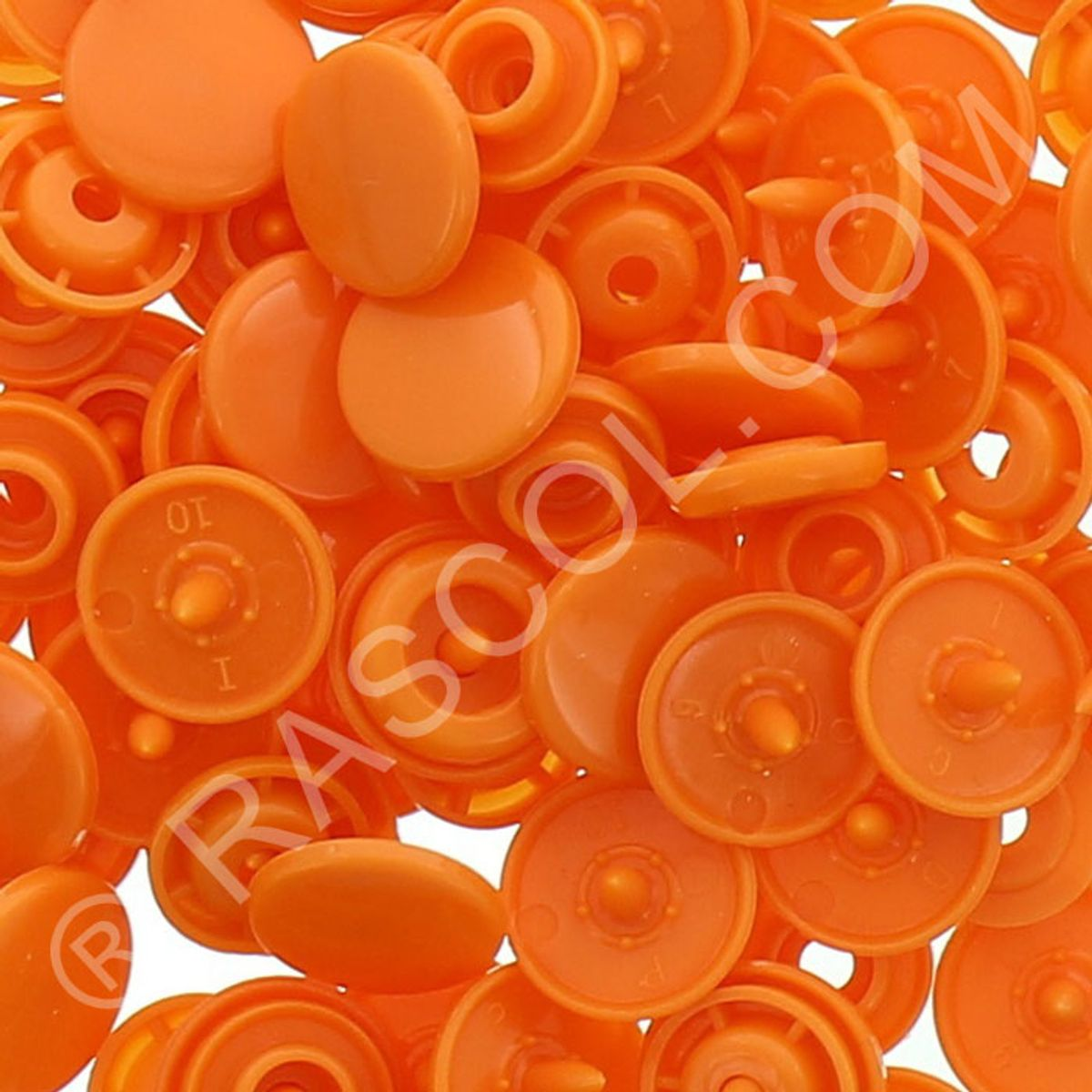 Sachet de 25 pressions résine KAM ronds - Orange