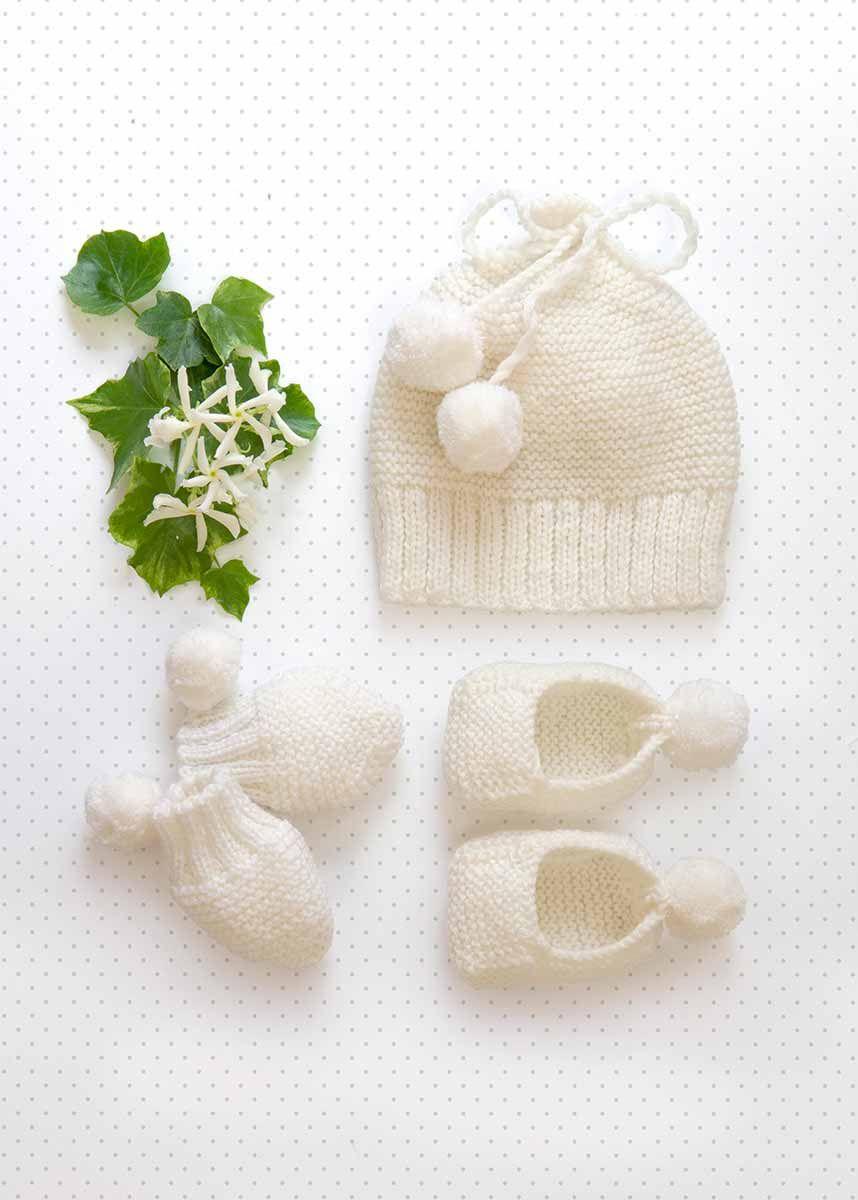 Modèle de bonnet, moufles et chaussons