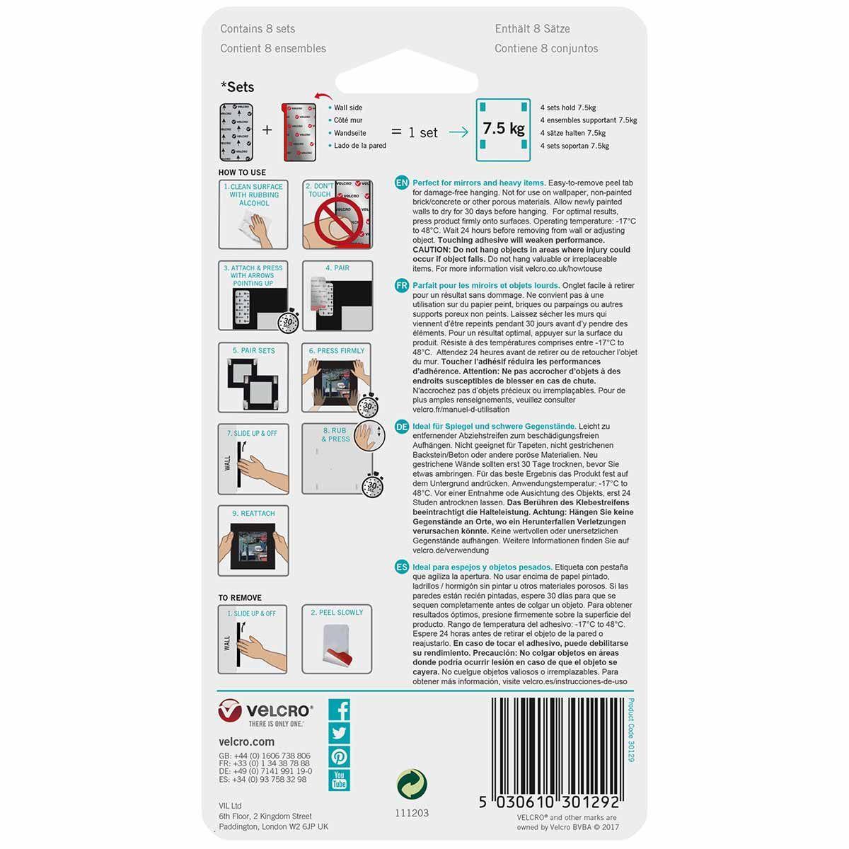VELCRO® Brand Attaches amovibles pour les murs 7.5 Kg