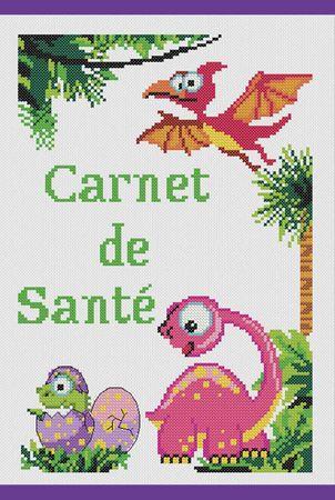Kit à broder point de croix Princesse - Carnet de santé les dinosaures